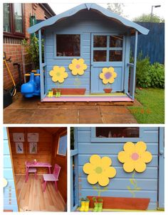 Pink and white painted wooden playhouse