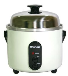 Tatung TAC-3A 3-cup Mini Rice Cooker (Indirect Heating Rice Cooker and Steamer) - with FDA approved stainless steel inner pot and lid