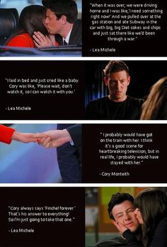 Monchele and their reactions to Finchel - Awwww!!! I'm so happy she has such great memories <3