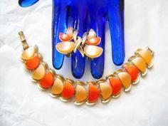 Coro Thermoset Bracelet Earrings Orange Tangerine Slices Vintage Designer Signed Gold Tone Metal Mid Century Boho Hipster by FindCharlotte on Etsy