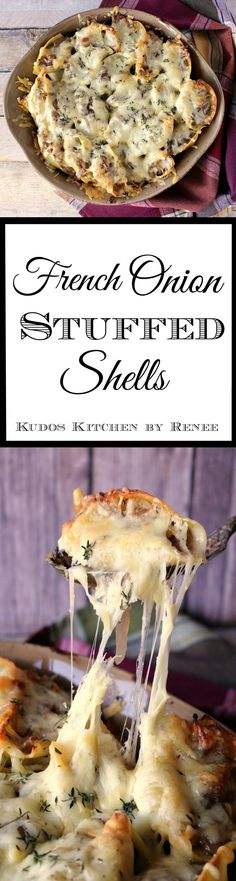 Everything you love about French onion soup is in these Crave-Worthy French Onion Stuffed Shells. But now it's in a brand new (yet still incredibly delicious, and cheesy) unexpected form. - Kudos Kitchen by Renee I Love Food, Good Food, Yummy Food, Vegetarian Recipes, Cooking Recipes, Pasta Recipes, Vegetarian Diets, Top Recipes, Casserole Recipes