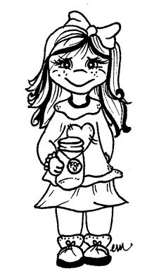 Sweetly Scrapped: Free Digi Stamp.... Little Girl With Mason Jar... For you
