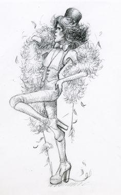 sketch of David Johansen at Rainbow Room gig, Big Biba 1973. By Kasia Charko.