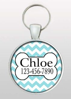Pet ID Tag - Dog Name Tag - Aqua Blue Chevron - Dog Tag - Gifts for Dogs - Gifts Under 10 - Girly Dog Tag - Dog ID Tag - Design No. 225
