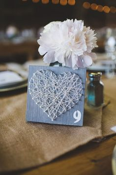 string art table numbers // photo by Jessica Oh // Farm Wedding, Diy Wedding, Wedding Ideas, Wedding Themes, Wedding Colors, String Art Diy, Wedding Table Numbers, New York Wedding, Unique Weddings