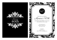 Blackwhitepartyinvitationprintable21301byidconsultdesign damask personalised party invitations custom printed from australias party supplies shop filmwisefo