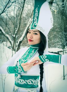 Young Altai girl in national costume.(Siberia-Russia)