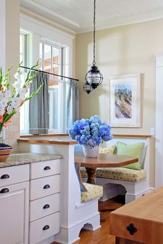 Shingle style cottage breakfast nook traditional kitchen