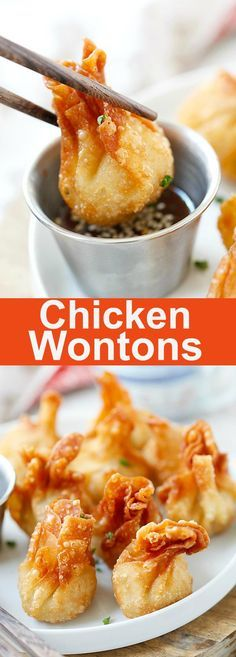Chicken wontons – easiest and the best fried chicken wontons ever! Takes 20 mins to make including wrapping. Super crispy and yummy, get the easy recipe   rasamalaysia.com Thai Dumplings, Chicken Dumplings, Chicken Wontons, Chinese Dumplings, Thai Starters, Chinese Starters, Chinese Food Recipes Chicken, Fried Chicken Recipes, Fried Chicken Side Dishes