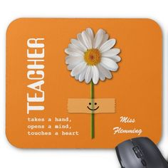 Smiling Daisy design Thank You Teacher / Happy Teacher Appreciation Day / Happy Teacher Appreciation Week / Graduation Gift Mouse Pads for Teachers with personalized name. Matching cards, postage stamps and other products available in the Business / Occupation Specific / Education, Childcare Category of the Mairin Studio store at zazzle.com