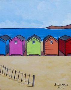 Paul Bursnall - Paintings for Sale Beach Huts Art, Beach Art, House Drawing, House Sketch, Beach Illustration, Primitive Painting, Paint Photography, Art Folder, Diy Artwork