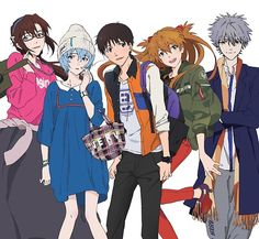 From the Official Evangelion Store for their year anniversary. Manga Anime, Anime Art, Neon Genesis Evangelion, Asuka Langley Soryu, Good Anime Series, Rei Ayanami, Cowboy Bebop, Shinigami, Retro Aesthetic