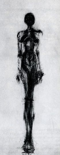 Alberto Giacometti - standing woman - this piece has been done with pencil in a very simplistic form, the pencil has been used very loosely. I also like the differences in depth achieved with the pencil.