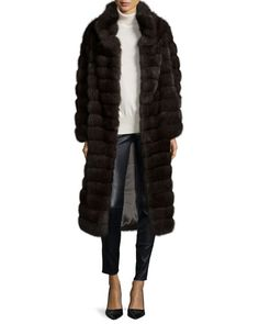TAW33 Fabio Gavazzi Long Sable Fur Coat, Silvery