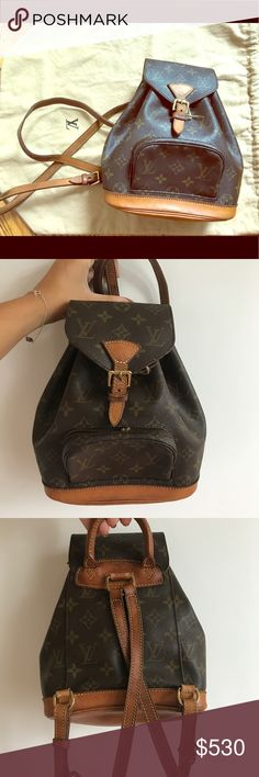 d0a0f8a1334f Authentic Louis Vuitton Montsouris Mini Brown and tan Louis Vuitton coated  canvas monogram mini Montsouris backpack