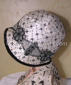 Antique Style Vintage Silk 1920s Ivory Black Embroidered Gatsby Downton Abbey Flapper Cloche Hat.