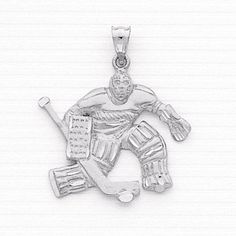 Sterling Silver Ice Hockey Goalie Charm Measures Approximately : 1 1/4in x 1