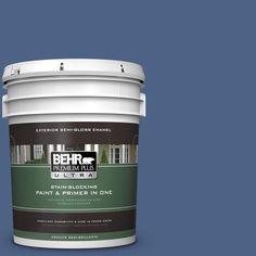 BEHR Premium Plus Ultra 5-gal. #PPU15-4 Mosaic Blue Semi-Gloss Enamel Exterior Paint