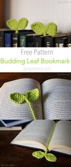 [Free Crochet Pattern] Cute little leaves to guide your reading! Budding Leaf Bookmark by Tying An End