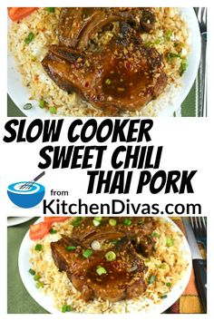 These Slow Cooker Sweet Chili Thai Pork Chops are fantastic. The juices, gravy or sauce taste so nice on top of the pork and on a bed of rice. Slow Cooker Chili, Slow Cooker Pork Roast, Slow Cooker Pressure Cooker, Endive Recipes, Pork Recipes, Slow Cooker Recipes, Slow Cooking, Asian Pork Chops, Food Dinners