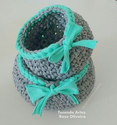Tecendo Artes em Crochet: Cestinhos Organizadores Mega Fofos com Fio de Malh...