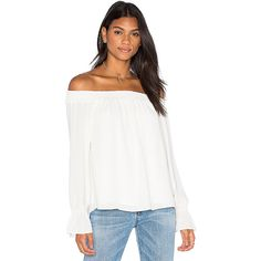 Three Eighty Two Evangeline Off Shoulder Long Sleeve Top ($115) ❤ liked on Polyvore featuring tops, blouses, off the shoulder tops, off shoulder long sleeve top, off shoulder tops, white off the shoulder top and smock top