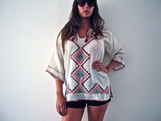 vintage ethnic kaftan goddess lace white top by ilvecchioarmadio, €33.00