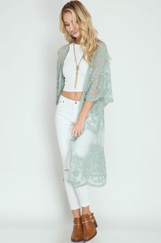 This is a Preorder item. Lace kimono ships the week of March 31. We searched high and low to find the perfect lace kimono for all our Verity babes! This pretty duster makes the perfect statement piece