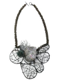 One of a kind necklace of opal, glass, and  silver beads by Karen Gilbert. Gallery Lulo.