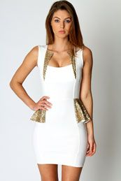 Hayley Sequin Trim Detail Peplum Dress