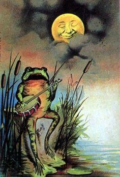 Vintage Mermaid & Frog Fantasy Fabric Block 4 by mermaidfabricshop Vintage Moon, Vintage Mermaid, Vintage Art, Sun Moon Stars, Sun And Stars, Illustrations, Illustration Art, You Are My Moon, Frog Art