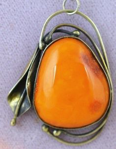 Ancient silver necklace of natural amber