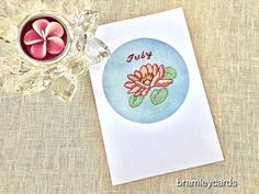July Birthday Embroidered Waterlily Card £4.00 July Birthday, Cross Stitch Cards, Summer Sky, Water Lilies, Blank Cards, Birthday Presents, Gift Guide, Give It To Me, Colours