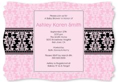 Damask Girl - Baby Shower Invitations With Squiggle Shape $1.39