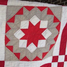 AX-Antique-1880s-CARPENTERS-WHEEL-quilt-turkey-red-taupe-green-56x76