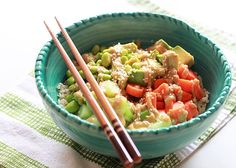 Veggie Roll Rice Bowl with Creamy Sesame-Wasabi Dressing recipe - All the flavors of veggie sushi rolls, in the form of a tasty and satisfying grain bowl.