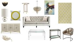 Gorgeous pale silver tones with a dash of gold. A completely shoppable design board from @fieldstonehill at @jessebodine Scout and Nimble #shoppabledesignerrooms #mixedmetals
