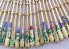 Painted Bayeux Lace Bobbin - choice of flowers by Lacebobbins on Etsy
