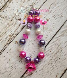 Pink and purple chunky necklace, girls jewelry, wedding jewelry, children's necklace, bubblegum jewelry, bubblegum necklace