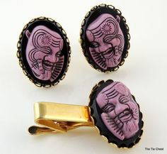 Vintage Cufflinks & Tie Clip Set depicting Opera & Theatre. Fantastic set with cool 3D effect! | The Tie Chest