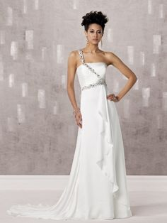 A-line One Shoulder Beaded Strap Ruched Bodice Satin Wedding Dress-wa0251, $252.95