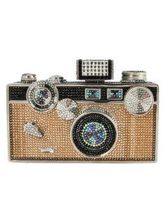 Click Camera Crystal Clutch