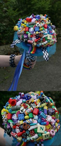 My cool gamer/geek bouquet made from board game pieces, dice, toys and beads.