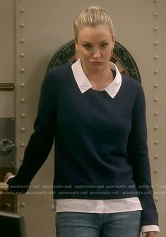 Penny's navy layered sweater on The Big Bang Theory.  Outfit Details: https://wornontv.net/70178/ #TheBigBangTheory