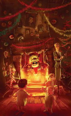 """Hogfather"" -- Sir Terry Pratchett's Discworld by marc simonetti, via Behance"