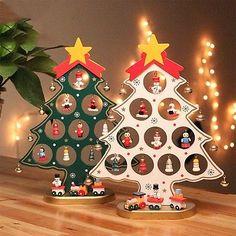 1 STÜCK DIY Cartoon Holz Weihnachtsbaum Dekoration Weihnachtsgeschenk Ornament Tisch Schreibtisch Dekoration Schnelles Verschiffen