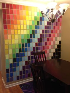 wall art made with paint samples from home depot. *Small wall in bedroom*