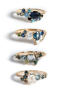 Here are some blues we'd like to get! Sapphires are known as the wisdom stone, and Blue Sapphires are specifically associated with love and truth-seeking. We love their royal and elegant hue, especially when fitted in a playful setting of reclaimed metal. Our custom rings are designed by our skilled team, and produced individually by hand, with an open lead time. Visit our site and fill out our Custom Design Questionnaire to get started on a piece of your own.