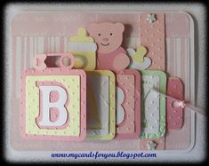Carte cascade Waterfall card I guess I will need to break down and make a baby card - cuz this one is CUTE! 3d Cards, Flip Cards, Cool Cards, Baby Girl Cards, New Baby Cards, Fancy Fold Cards, Folded Cards, Baby Scrapbook, Scrapbook Cards