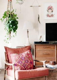 pink chair, bohemian nook